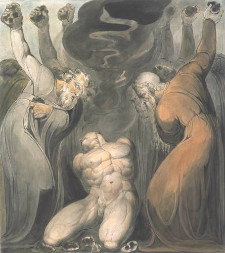 The Blasphemer (ink and watercolor, circa 1800, by William Blake).