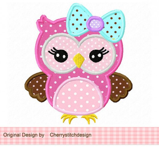 Girly Owl Applique