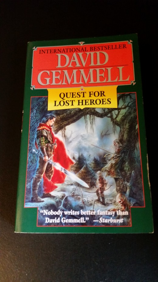 A photo of my own personal copy of Quest for Lost Heroes by David Gemmell.