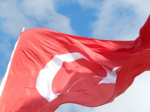 The Turkish Flag flying high in Istanbul on the Galata Bridge