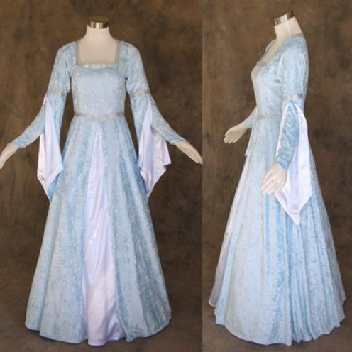 Medieval Style Light Blue Gown for Cosplay