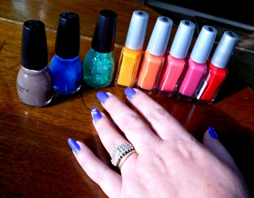 Creative nail art designs are created by using various nail polish colors, nail art tools and nail art supplies.