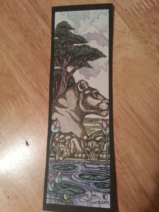 I colored this bookmark for my friend. The drawing is original work by Dan Thompson.