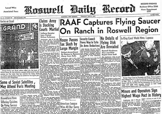 Article concerning the Roswell UFO incident in Roswell Daily Record from July 9, 1947.