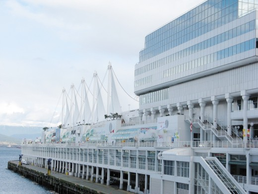 The five iconic sails on the pier of Canada Place in downtown Vancouver