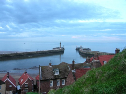 Looking down, to the harbour, from the steps that lead up to Whitby Abbey