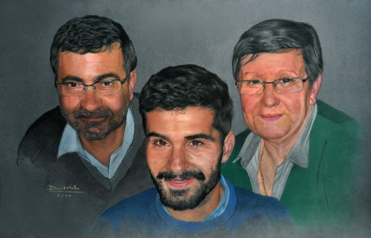 Gina's Family 2014 - Pastel pencils on paper