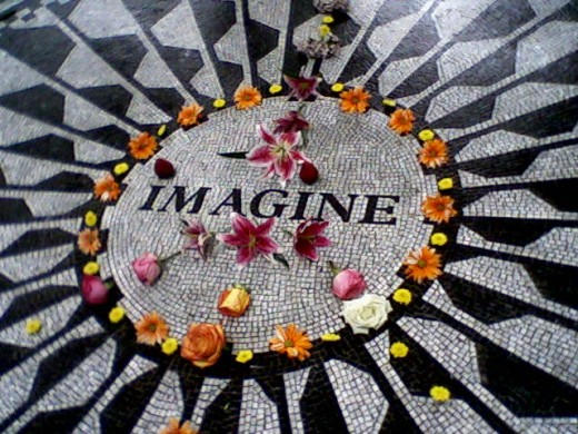 """""""Imagine all the people.... livin' life in peace...."""" John Lennon memorial inside Central, Park New York City."""