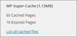 Super Cache currently has 60 static pages created. 16 of them are expired and will be deleted during the next garbage collection.