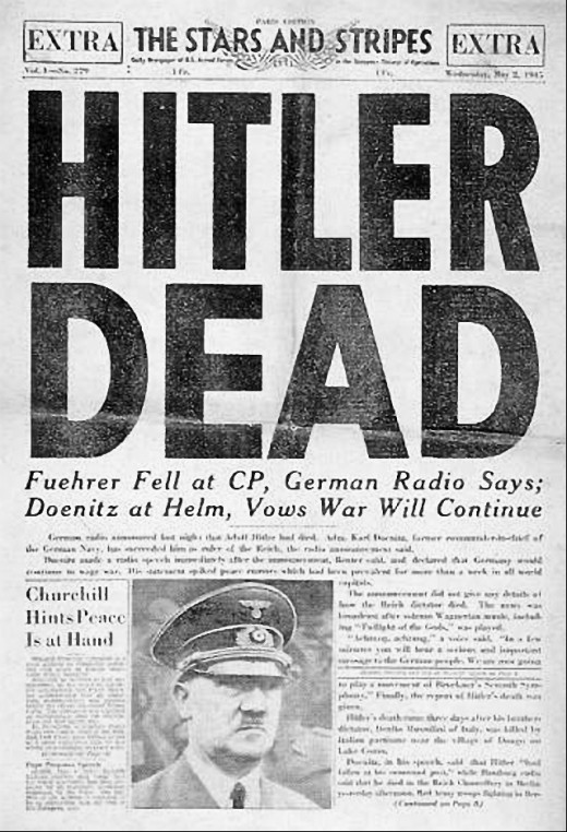 A headline in the U.S. Army newspaper Stars and Stripes announcing Hitler's death