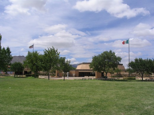 The flags for both countries fly at Chamizal - a symbol of peace