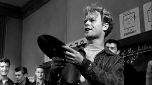 "The late Vic Morrow as the head bully in ""Blackboard Jungle,"" with Glenn Ford"