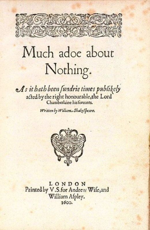 Title page of the first quarto of Much Ado About Nothing by Shakespeare