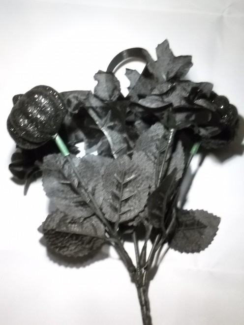 "3)  9"" Glitter flower stem - This item also comes in a few other colors, but black was chosen to keep the arrangement uniform.  If purchasing material at a craft store, you can choose any floral picks or stems to suit your desired color scheme."