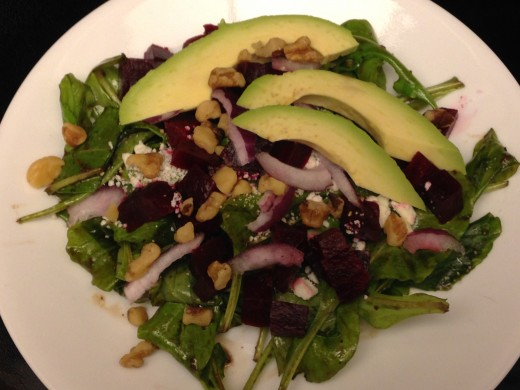 Arugula Salad with beets and avocado