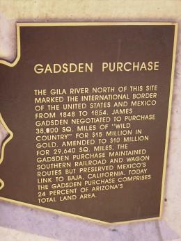 Plaque commemorating 1852 Gadsden Purchase