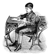 This is a male student in an early school in the 1800's