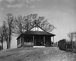 A quaint one= room schoolhouse