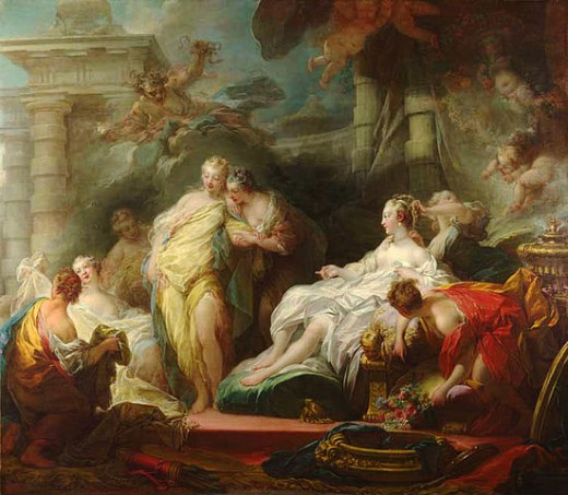 Psyche and her sisters, by by Jean-Honoré Fragonard