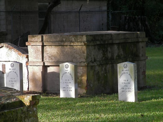 Old Tombs Inside Huguenot Cemetery In St Augustine Florida