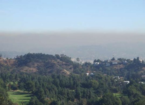 Smog is smoke or other atmospheric pollutants combined with fog in an unhealthy or irritating mixture. This is a big problem in larger cities in the state of California.