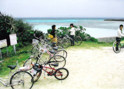 Beach on Hateruma's north shore. Bicyles are the best way to get around this island.
