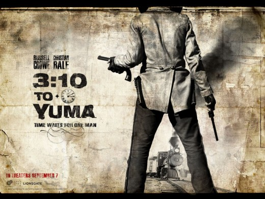 """3:10 to Yuma"" (2007) official poster - tagline: ""time waits for one man""."