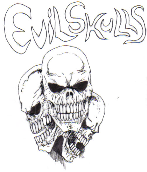 Evil Skulls - A skull pen and ink drawing taken from an upcoming horror graphic novel.