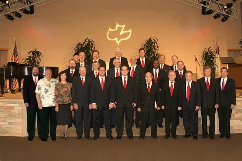 Calvary Chapel Mens Chorale with Pastor Chuck Smith (Hawaiian Shirt) (I'm left center)