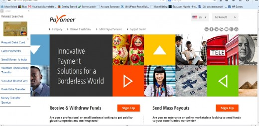 Payoneer Homepage. Still on the explanation
