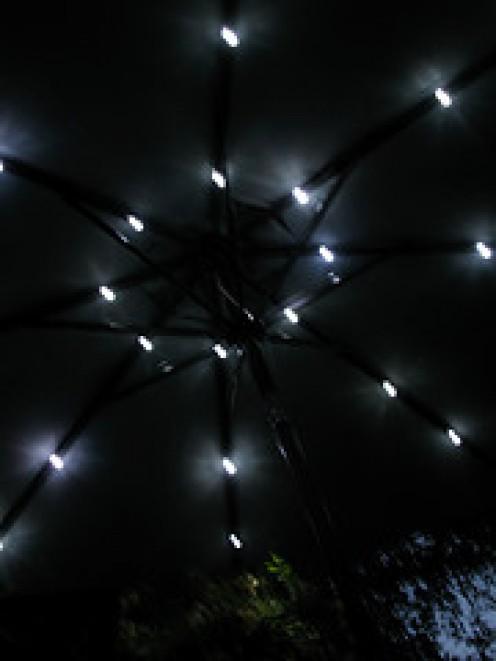Solar garden lights can illuminate a patio umbrella too