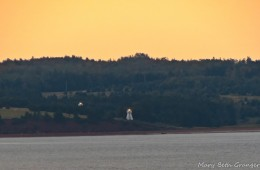 Double lighthouses seen as ship was headed toward Charlottetown in Prince Edward Island.