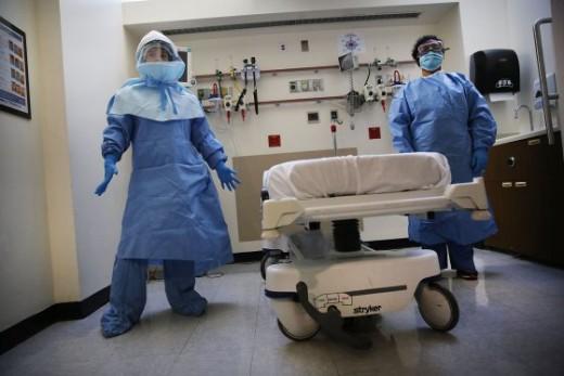 Ebola Gear in Dallas Hospital