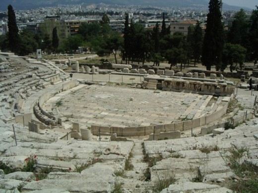 Theater of Dionysos, Athens, slope of the Acropolis. The pavement is Roman-period, but this is the theater where all Aeschylus' plays were originally performed for the festival of Dionysos.