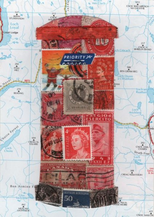 Handmade postcard from postage stamps and a piece of a map.