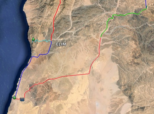Arabia: General area of the camps between Elim and Rephidim. Encamping by the Red Sea, finding springs, palm trees, Dophka and Alush is somewhere on the way too.