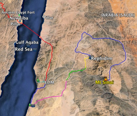 Moses leads the children of Israel across wilderness of the Red Sea, into a deep wadi, across a wide area, across a split Red Sea and into the Midian homeland where Moses had fled and where Jethro lives. Map 7 shows Elim to Rephidim a different route