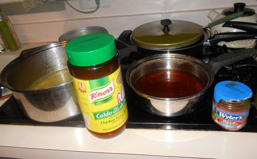 I used chicken and beef bouillon to give a little more flavor to the chicken and beef broth