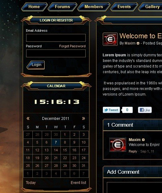 "An example of guild website themes at Enjin, ""SWTOR Gold Blue"" is available for selection in the members area."
