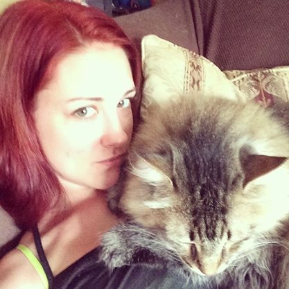 The author with Big Cat, her main animal support system!