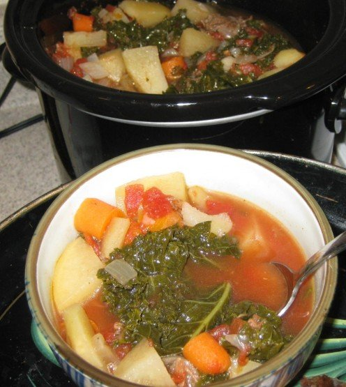 Vegetable soup I made in my Crock Pot.