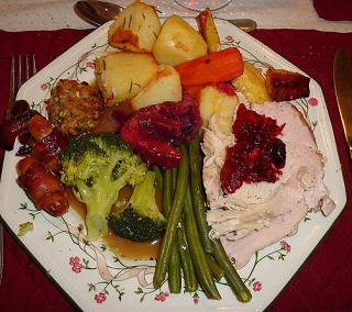 A traditional British Christmas dinner with all the trimmings