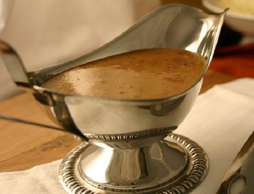 Gravy ready to serve in a jug