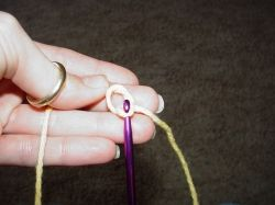 Use the crochet hook to pull the yarn up through the loop and create a slip knot.
