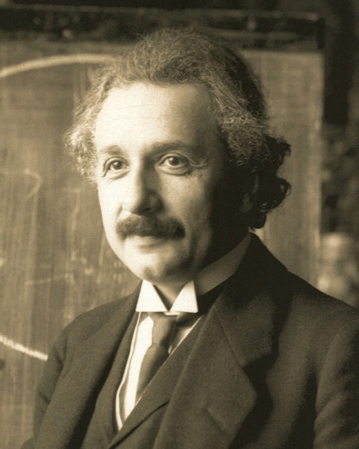 Albert Einstein during a lecture in Vienna in 1921 (age 42)