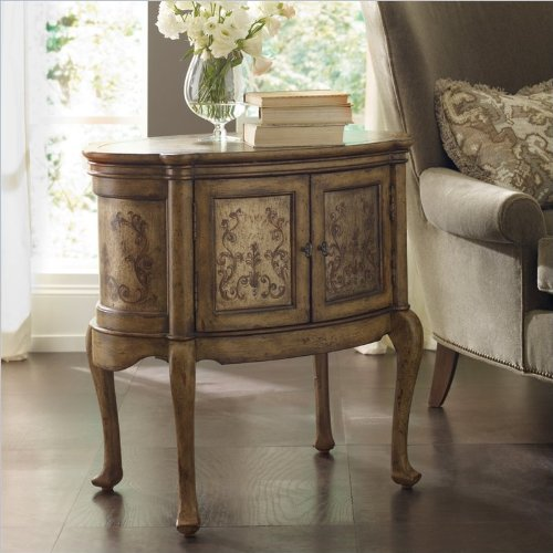 "Featured:  Two-door  ""Seven Seas"" Hand-painted Oval Accent Table in poplar and hardwood solids, by Hooker Furniture"