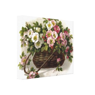 Vintage wild roses in a lovely old-fashioned wicker basket.