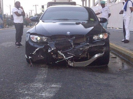 Usain Bolt's crashed car from 2012