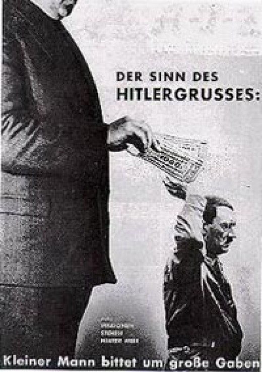 John Heartfield: 'The Meaning of the Hitler Salute. The Little Man Asks for Big Gifts. Millions Stand Behind Me' 1932