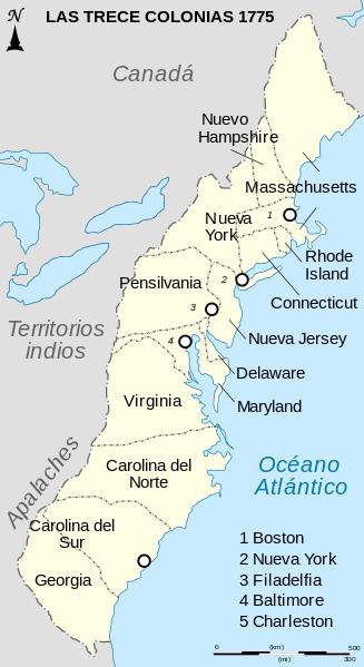 Thirteen Colonies 1775 map